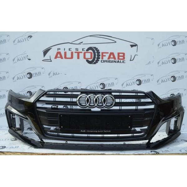 Bară față Audi A5 B9 S-Line an 2017-2020 cu găuri pentru 6 senzori și spălătoare faruri