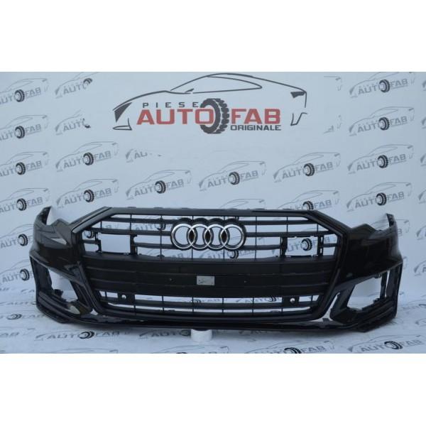 Bară față Audi A6 4K C8 S-Line NIGHT an 2018-2020 cu găuri pentru 6 senzori și spălătoare faruri